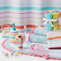 Jumping Beans In The Air Striped Bath Accessories
