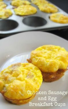 Freezer Breakfast Recipe. Chicken Sausage and Egg Breakfast Cups:  1 pound (about 5 – 6 links) parsely and cheese chicken sausage or whatever kind you prefer.  12 eggs  ¼ cup 1% milk  Salt and pepper to taste (optional)  ½ cup shredded cheddar  Cooking spray