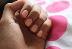 nude nails with hot pink border