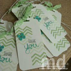 Stampin' Up! - Thank You tag - Work of Art stamp set, Scallop Tag Topper punch