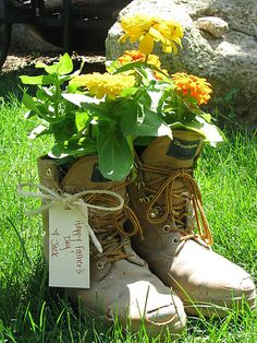 Use old boots as flower pots =) not just a father's day gift, but a yard ornament as well =)