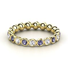 Pod Enternity Pod Band|14K Yellow Gold Ring with Iolite and Sapphire