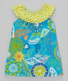Loving this Turquoise Floral Yoke Dress - Toddler & Girls on #zulily! #zulilyfinds