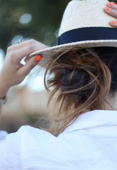 Panama Hat + Bright Orange Nails