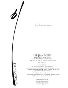 """2 weeks until NYFW F/W14 begins! We're pleased to invite you to our collection.  LEE JEAN YOUN - """"Waist-Down"""" Feb 7th, at 4pm/ Pavilion, Lincoln Center NYC  The ultimate celebration of his modern and rebellious dance to the beats of the New York Street."""