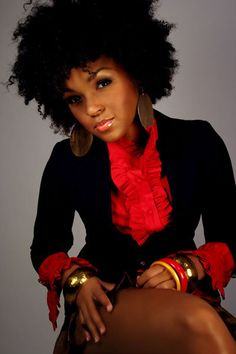 Janelle : fro + big earrings + red blouse + black blazer + stacked bangles. #NaturalHair #afro