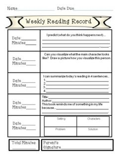 Weekly response sheets for both non-fiction and fiction.  Makes great classwork or homework.