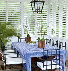 the white plantation shutters give this room a tropical  feel