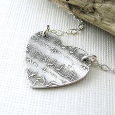 Sheet Music Heart Jewelry In My Heart Necklace by JenniferCasady