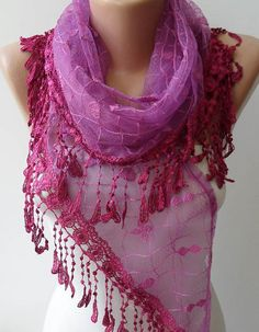 Pink Laced Scarf with Trim Edge  - Speacial Laced Fabric - Triangular...