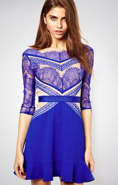 Royal  Back Hollow-out Lace Dress