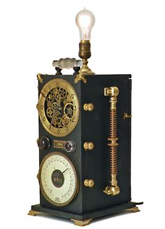 Steampunk clocks by roger on pinterest jules verne steampunk and glass domes - Steampunk mantle clock ...