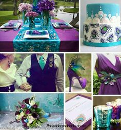 Purple, teal, lime green