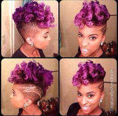 PURPLE NATURAL HAIR purple hair, kinky curly, hair colors, natur hair, curls, hairstyl, lilac hair, hawk, natural beauty