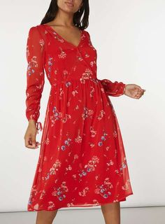 Red Floral Wrap Midi