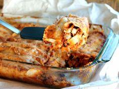 Spicy Black Bean Chicken Enchiladas with Pumpkin Sour Cream Sauce