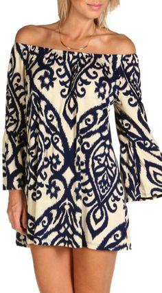 Blue filigree boho tunic