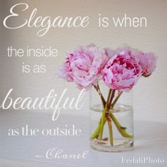 Chanel, elegance, famous-quotes, girly-quotes, peonies, quotes, artwork, beautiful, pink peonies  Elegance Inspiration Quote by Chanel by Fedali on Etsy, $15.00
