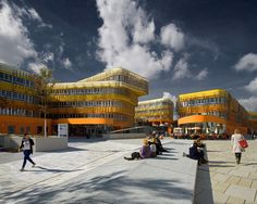 """Departments of Law and Central Administration, Vienna University of Economics and Business, designed by Cook Robotham Architectural Bureau. As a university building, the 200-meter long pair of structures are meant to infuse the """"often grey skies of Vienna's Prater district"""" with sparks of color. Well done."""