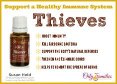 Thieves blend of essential oils that is specifically designed to boost immunity and support the body's natural defenses. | TheConfidentMom.com