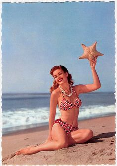 She was always the star of the beach. #starfish #beach #summer #1940s #1950s #vintage #swimsuit