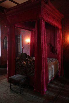 Gothic Bedroom canopi, bedroom interior design, dream, canopy beds, red velvet, bedrooms, four poster beds, bedroom designs, red rooms
