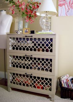 Dumpster Dive Dresser Turned Home Office Storage. I'd put mirrors in the openings so it hides the stuff