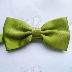 Lime green satin bow tie