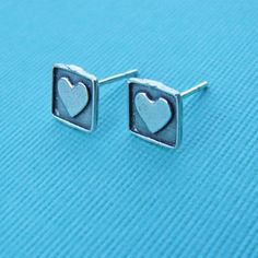 square heart post earrings by juliethefish designs