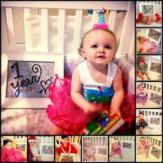 Every month take a picture with baby's age (I used a 8X10 frame, piece of scrapbook paper, and dry erase marker) then write down their favorite things, most hated things, things they learned to do, their sizes, and new places they have been for that month. Great way to document their first year of life!!