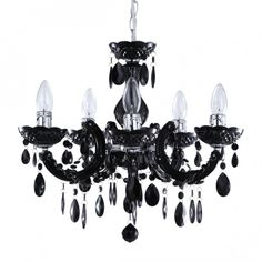 Marie Therese Dual Mount Black Chandelier
