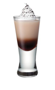 The perfect shot . . . Whipped cream vodka and Bailey's topped with whipped cream.  Hooray!  Dessert in a shot glass.