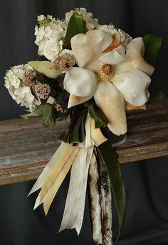 magnolias, bridal bouquets, ribbons, gardenias, leaves, flowers, velvet, hydrangeas, gardenia bouquet