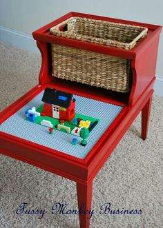 Lego side table re-purpose.....I totally need this. Reese loves to work from a table!!
