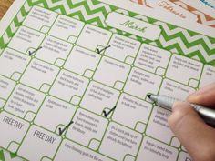 12-Month Declutter Calendar, Chevron Pattern, Print a New Copy Each Year, Get Organized