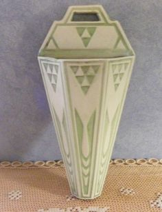 "Early Roseville Pottery Chloron 1203 Wall Pocket Green 12"" Tall | eBay"