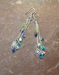Hippie Earrings Beaded Handmade Silver by TheHippieBohemian