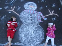 Perfect Christmas photo or card idea! Using sidewalk chalk :).