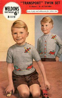 1940's weldon b1119, vintag intarsia, intarsia knit, littl boy, vintag advertis, vintag knit, knit children, 379600 pixel