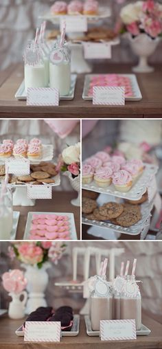 Desert theme for me Milk and Cookies theme = adorable!  I like this for my lil gals birthday. Though would be a cute shower idea.