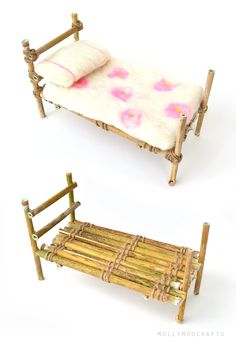 FAIRY BED - Make a sweet nature crafted bed for the fairies from willow twigs and twine :) | MollyMooCrafts.com