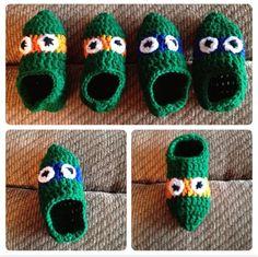 Teenage Mutant Ninja Turtles crochet slippers.