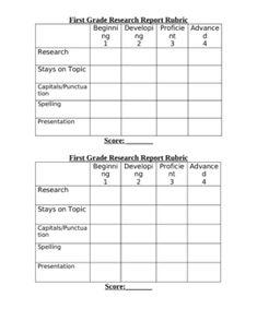 5th grade research paper rubric