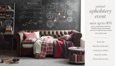 Teen Boy's room - RH Chesterfield Daybed that looks like a sofa, chalkboard wall, hanging industrial lights