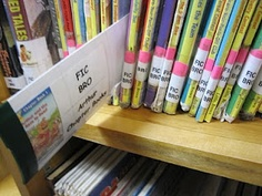 """Use this concept to create a """"find it"""" game for first graders. love the shelf markers turned into """"clue sticks"""". maybe have them shelve pre pulled books."""