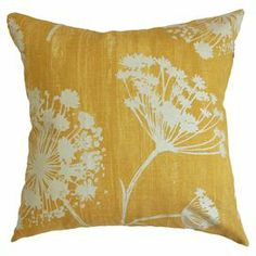 "Cotton pillow with a down-feather fill and floral motif. Made in the USA.  Product: PillowConstruction Material: Cotton cover and down fillColor: ButterscotchFeatures:  Insert includedMade in the USA Dimensions: 18"" x 18""Cleaning and Care: Spot clean"