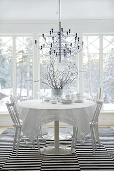 white dining room...