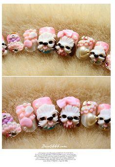 puppy nail art 3d design