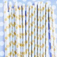 Polka Dot Straws: gold Dots