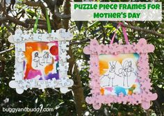 Puzzle Piece Frames and Watercolor Art for Mother's Day!